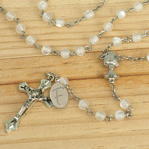 White Personalized Communion Rosary | Personalized Rosary