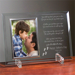 Following In Your Footsteps Personalized Father's Day Beveled Glass Frame | Dad Frames
