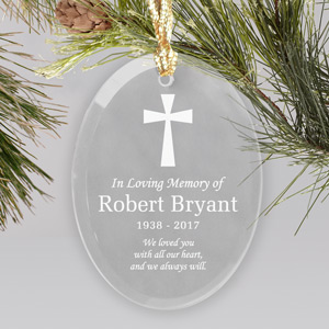 Engraved In Loving Memory Oval Glass Ornament | Memorial Ornaments