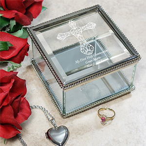 Engraved First Holy Communion Glass Jewelry Box 852900