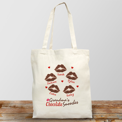 Personalized Chocolate Smooches Canvas Tote Bag 85322