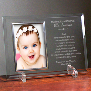 Engraved A Godparent's Promise Beveled Glass Picture Frame | Personalized Picture Frames