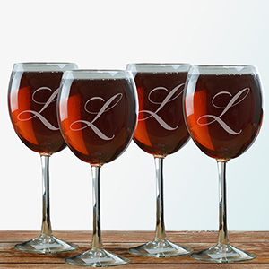 Engraved Initial Wine Glass 8575820