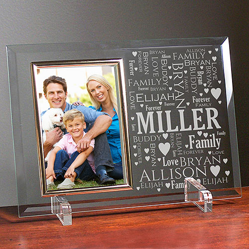 Mom Word-Art Glass Beveled Picture Frame | Personalized Word Art
