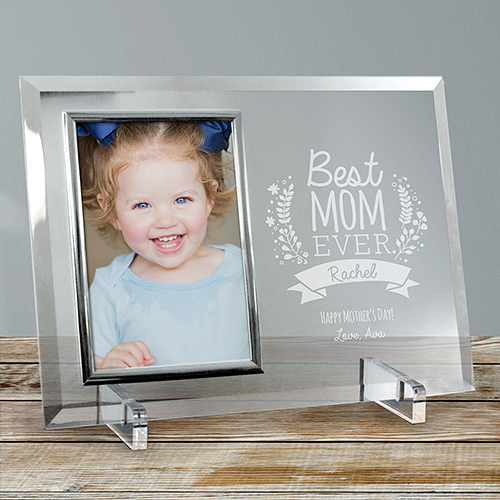 Engraved Best Mom Ever Glass Frame | Mother's Day Personalized Gifts
