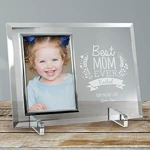 Engraved Best Mom Ever Glass Frame