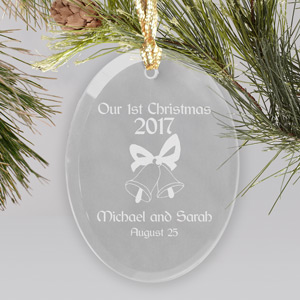 Our Christmas Personalized Glass Ornament | Personalized Couples Ornament