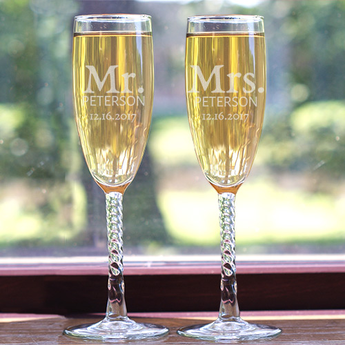 Engraved Mr. and Mrs. Toasting Flutes 8598250