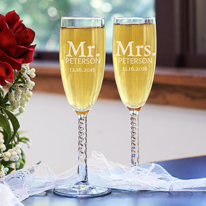Engraved Mr. and Mrs. Toasting Flutes