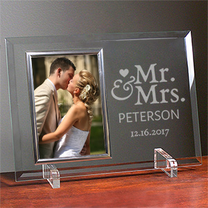 Engraved Mr. and Mrs. Beveled Glass Frame | Personalized Picture Frames