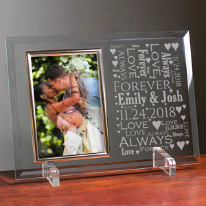 Personalized Loving Couple Word-Art Beveled Glass Frame | Personalized Valentines Frames