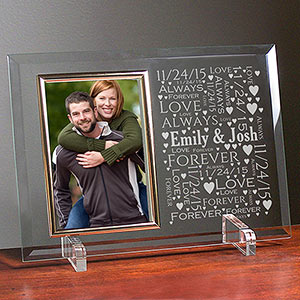 Personalized Loving Couple Word-Art Beveled Glass Frame