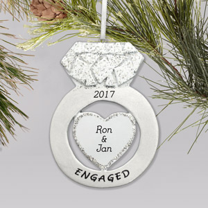 Personalized Engagement Ring Ornament | Personalized Engagement Christmas Ornament