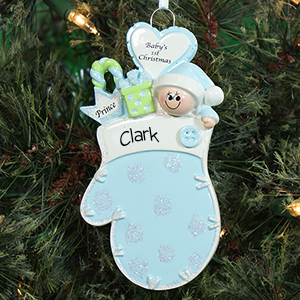 Baby's First Christmas Blue Mitten Ornament 861183