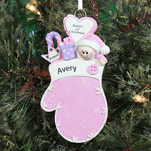 Baby's First Christmas Pink Mitten Ornament | Baby's First Christmas Ornaments