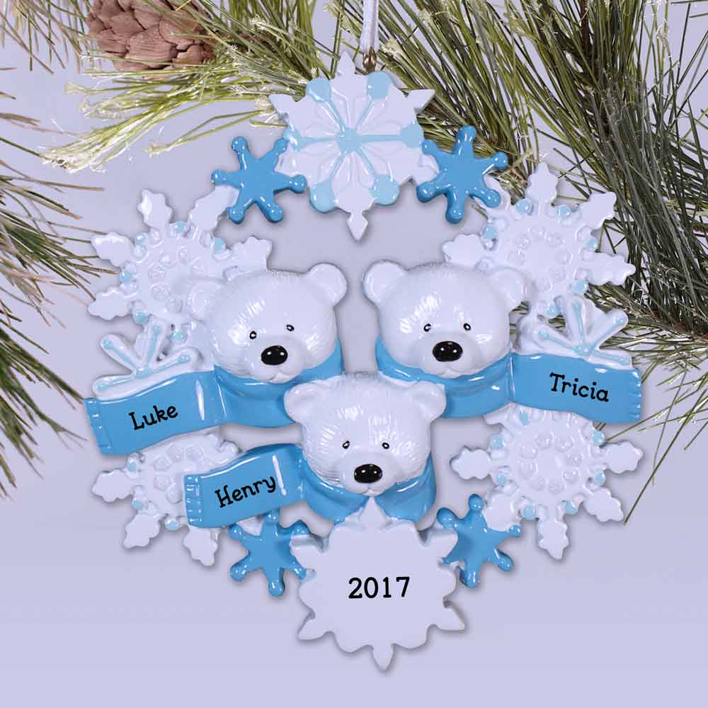 Personalized Polar Bear Family Ornament |   Personalized Family Christmas Ornaments