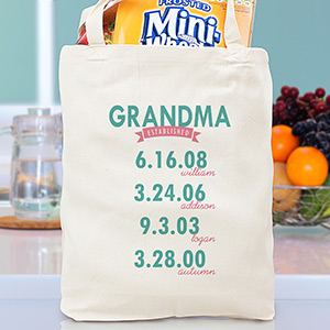 Personalized Mom Established Tote Bag