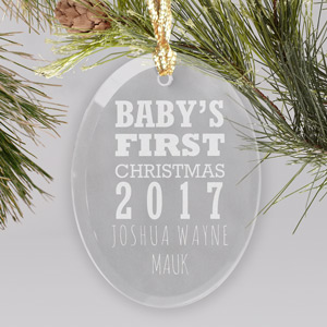 Engraved Baby's First Christmas Oval Glass Ornament | Baby's First Christmas Ornaments