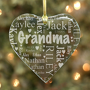 Grandma's Heart Word-Art Ornament