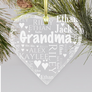 Grandma's Heart Word-Art Ornament | Personalized Christmas Ornament