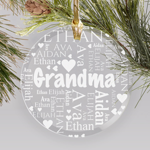 Engraved New Baby Round Glass Ornament | Personalized Gifts For Grandma