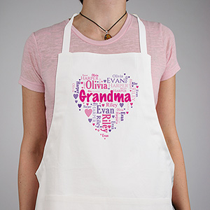 Personalized Grandma's Heart Word-Art Apron