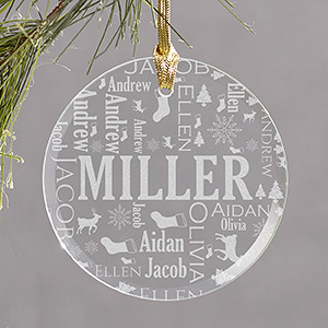 Family Word-Art Round Glass Ornament