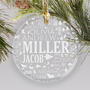 Engraved New Baby Round Glass Ornament | Personalized Family Ornaments