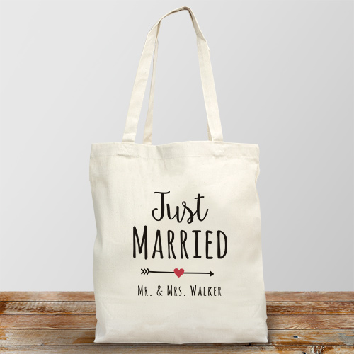 Personalized Just Married Canvas Tote Bag 894862