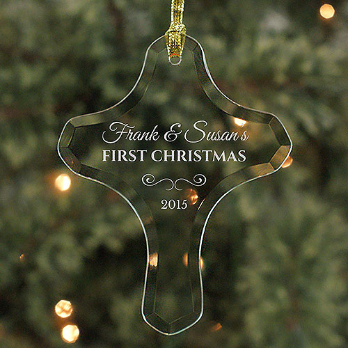 Our First Christmas Glass Cross Ornament