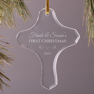 Our First Christmas Glass Cross Ornament 898214C