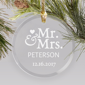 Engraved Mr. & Mrs. Round Glass Ornament | Couples First Christmas Ornament