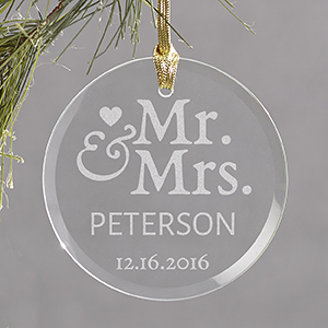Engraved Mr. & Mrs. Round Glass Ornament 898254R