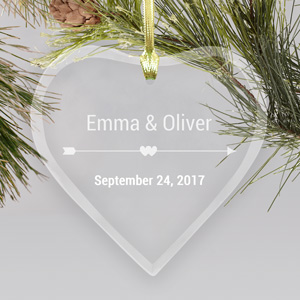 Cupid's Arrow Glass Heart Ornament | Personalized Couples Ornament