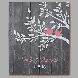 Personalized Love Birds Wall Canvas