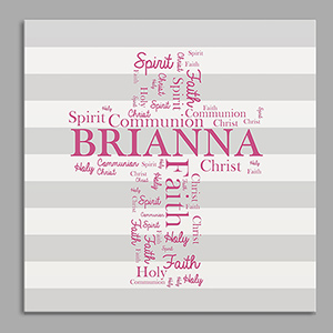 Personalized First Communion Word-Art Canvas