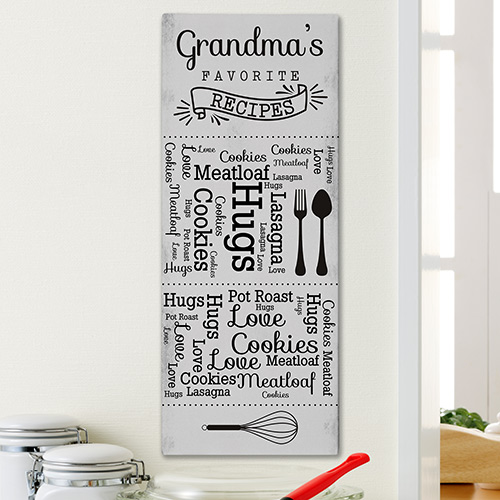 Personalized Favorite Recipes Word-Art Canvas | Personalized Gifts for Grandma