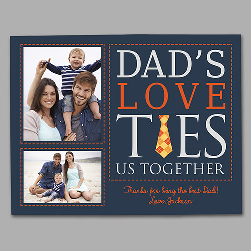 Personalized Dad's Love Ties Us Together Photo Canvas | Father's Day Photo Gifts