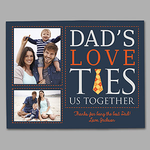Personalized Dad's Love Ties Us Together Photo Canvas