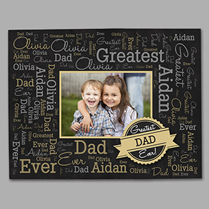 Personalized Greatest Dad Photo Word-Art Canvas