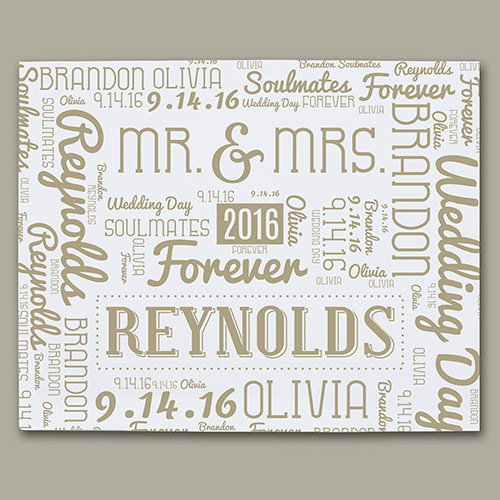 Wedding Word-Art Canvas | Personalized Word Art