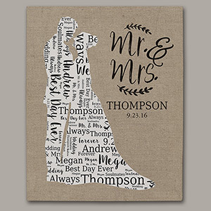 Wedding Silhouette Word-Art Canvas | Personalized Word Art