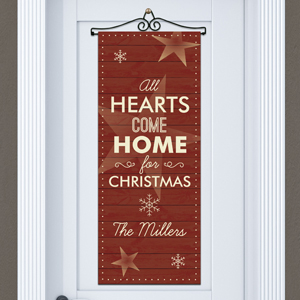 Personalized  Hearts Come Home Door Banner | Personalized Christmas Signs