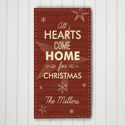 Personalized Hearts Come Home Door Banner | Christmas Wall Decor
