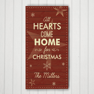 Personalized Hearts Come Home Wall Canvas