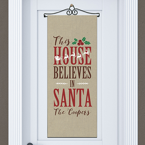 Personalized Believes In Santa Door Banner | Personalized Christmas Decorations