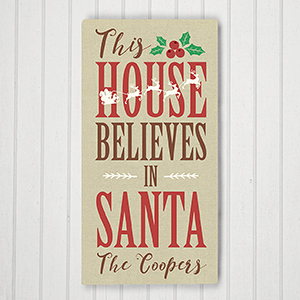 Personalized Believes in Santa Wall Canvas