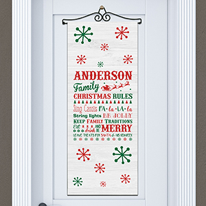 Personalized Christmas Family Rules Door Banner | Personalized Christmas Signs