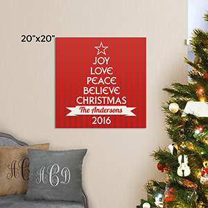 Personalized Christmas Tree from Words Canvas | Personalized Christmas Signs