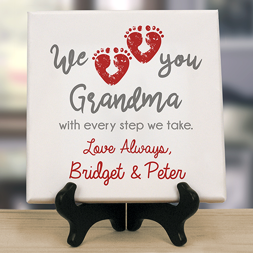 Personalized We Love You With Every Step Table Top Canvas | Personalized Gifts For Grandma
